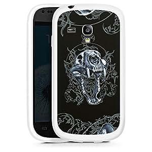 Silicona Carcasa blanco Funda para Samsung Galaxy S3 Mini - Pumaschädel
