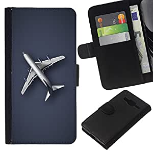 KLONGSHOP // Tirón de la caja Cartera de cuero con ranuras para tarjetas - Llanura Avión - Samsung Galaxy Core Prime //