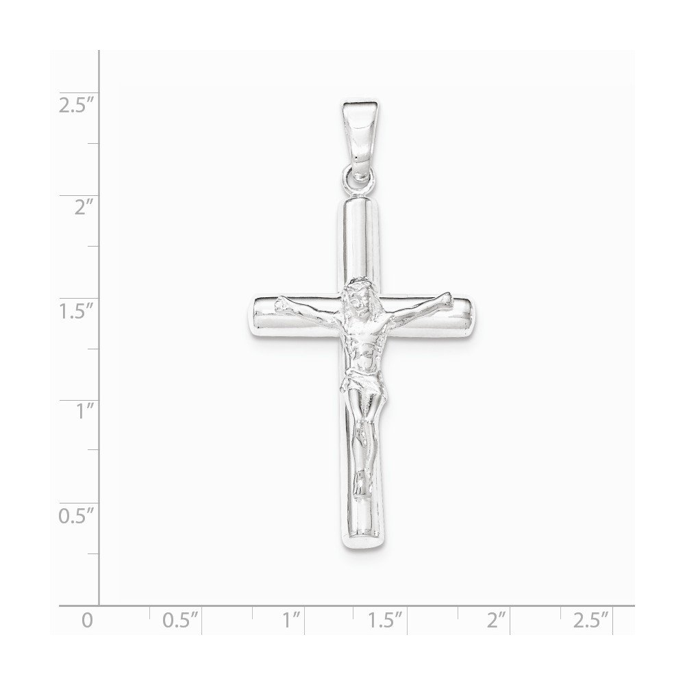 Sterling Silver Polished Hollow Crucifix Cross Pendant