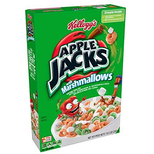 Kelloggs Apple Jacks, Breakfast Cereal with Marshmallows, Low Fat, 10.5 oz Box