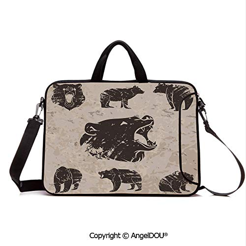 - AngelDOU Neoprene Laptop Shoulder Bag Case Sleeve with Handle and Extra Pocket Set of Different Bears in Grunge Design Carnivore Growling Mammals Zoo Decorativ Compatible with MacBook/Ultrabook/HP/A