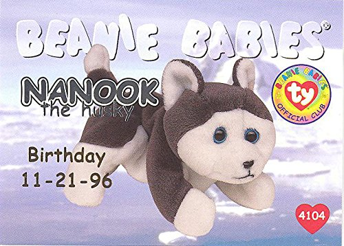 BBOC Cards TY Beanie Babies Series 1 Birthday (Silver) - Nanook The Husky