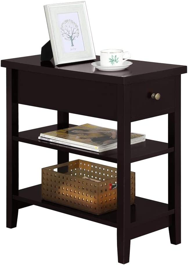 Yaheetech Nightstand Bedside Table with 2 Shelves 1 Drawer – Sofa Side End Table for Bedroom Espresso