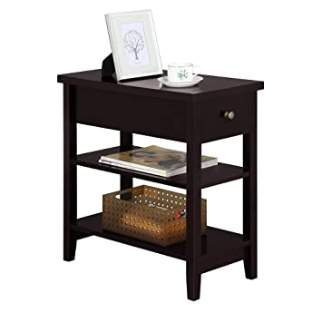 the latest 529a2 37be4 Yaheetech Sofa Side End Table with 1 Drawer Double Shelves - Coffee Table  Nightstand for Living Room Bedroom