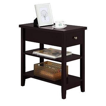 Amazon.com: yaheetech mesa auxiliar redonda con cajón y ...