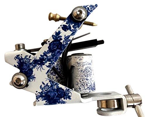 1TattooWorld (2) x Professional Cast Iron 10 Wrap Aluminum Coils Tattoo Machine Liner & Shader, White & Blue, OTW-M216-3 ()