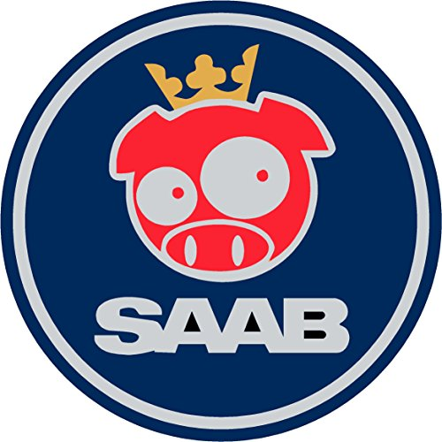 Saab Blue Rally Pig Replacement Decal Sticker 8 Piece Set (Replacement Decal Set)