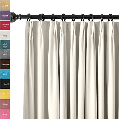 ChadMade Pinch Pleat 100W x 96L Blackout Lined Velvet Curtain Drapery Panel For Traverse Rod or Track, Living room Bedroom Meetingroom Club Theater Patio Door (1 Panel), White (Pinch Pleat Patio Panel)