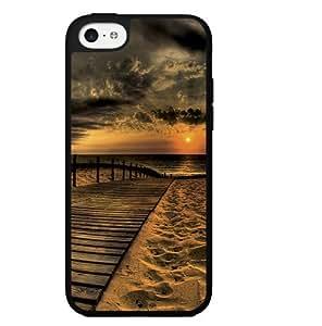 Beautiful High Contrast Beach Sunset on Boardwalk Hard Snap on Phone Case (iPhone 5c)