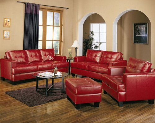 Samuel Collection 4PC Living Room Group in 100% Red Bonded Leather