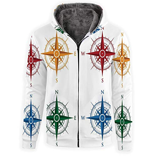 Men's Full-Zip Hooded Sweatshirt -Compass, used for sale  Delivered anywhere in USA