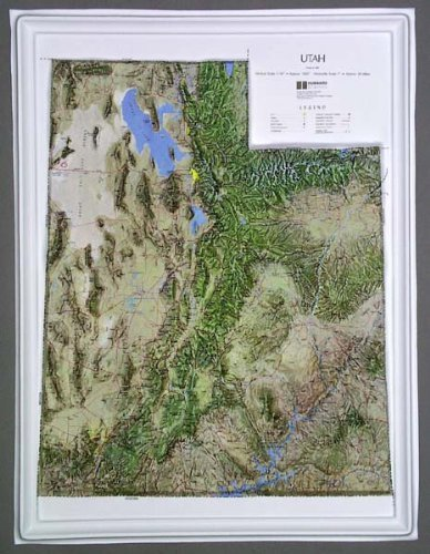 Utah Raised Relief Map NCR Style with Black Plastic Frame