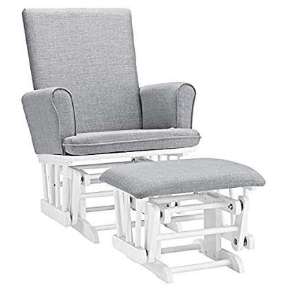 Image of Angel Line Ashley Semi-Upholstered Glider and Ottoman, White with Gray Cushion Baby