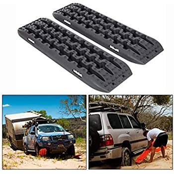ECOTRIC Recovery Boards Traction Tracks for Sand Mud Snow Off Road Tire Ladder Black 4WD