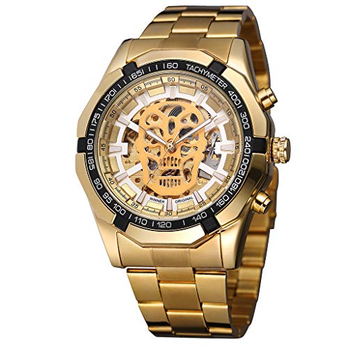 Londony  Men's Steampunk Bronze Skeleton Self-Winding Auto Mechanical Leather Wrist Wacth Classic Retro ()