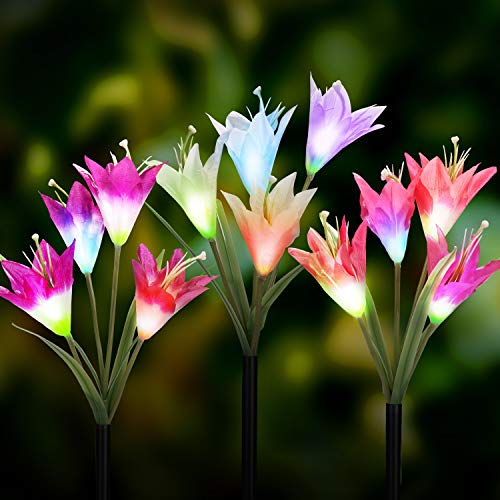 (Solar Garden Lights Outdoor [3 Pack] - WdtPro Solar Powered Flower Lights with 12 Lily Flower - Multi-Color Changing LED Solar Landscape Decorative Lighting for Garden, Patio(Purple, White & Pink))