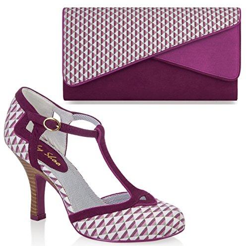 Ruby Shoo UK 6 EU 39 Pink Hatty Fabric T-Bar Pumps & Sydney Bag by Ruby Shoo
