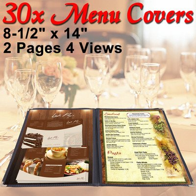 Menu Cover: Clear Folder Double (For Restaurants) 8-1/2''x14'' 30 Pcs by KOVAL INC.