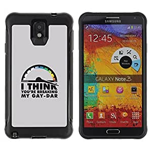 KROKK CASE Samsung Note 3 - breaking gaydar funny lgbt quote - Rugged Armor Slim Protection Case Cover Shell