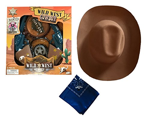 Cowboy Cowgirl Sheriff Costume - Kids- Cowboy Hat, Kids Handcuffs and Guns, Badge (Wild West 2 - (Wild West Sheriff Cowgirl Costume)