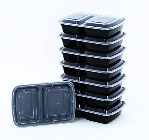 BlacWare [5 Pack] Meal Prep 2 Compartment Food Storage Containers Durable BPA Free Plastic Reusable Microwave & Dishwasher Safe w/ Airtight Lid For Portion Control & 21 Day Fix Weight Loss Fitness