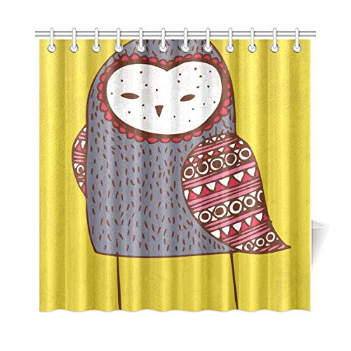VNASKL Home Decor Shower Curtain for Kids Yellow Background Cartoon Painting Owl Bird Polyester Fabric Waterproof Bath Shower Curtain for Kids for Bathroom 7272 Inch with Hooks ()