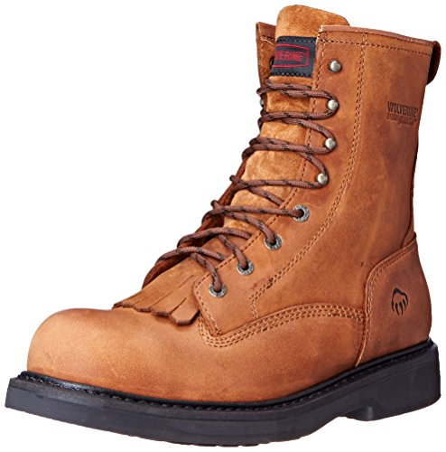 Wolverine Men's Ingham 8 Inch Kiltie Dura Steel Toe EH Work Boot, Dark Brown, 10.5 M US (Kiltie Leather Slip)