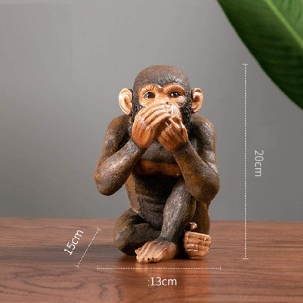 Estatua Decoraci Escultura Animales Creativos Americanos Decoraci/ón De Orangut/án Retro Tres Monos Sabios Estatua No Ver No Escuchar No Decir Gorila Artes Escultura Resina Artesan/ía Sala De Estar N/órd