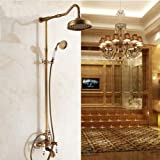 LightInTheBox Antique Shower System Rain Shower / Handshower Included with Ceramic Valve Two Handles Three Holes for Antique Brass , Shower Faucet
