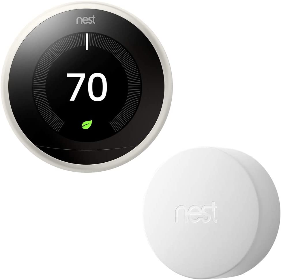 Nest Learning Thermostat (3rd Generation) with Nest Temperature Sensor (T5000SF) (White)