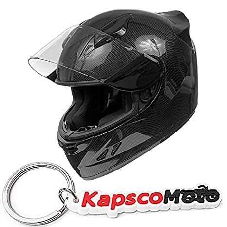KOI DOT Motorcycle Helmet Full Face KOI Gloss Carbon Fiber w/Clear Visor - X