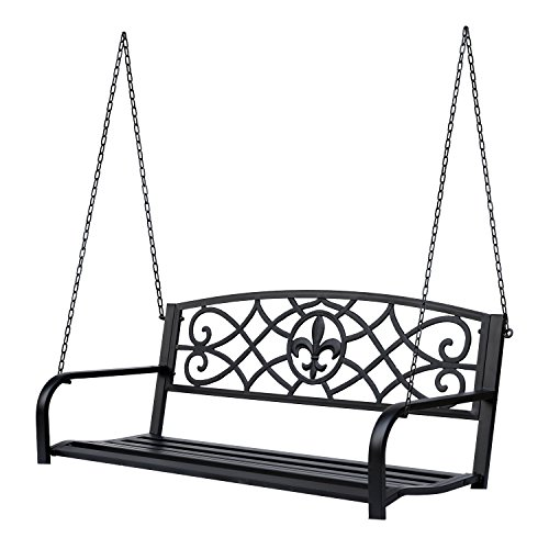 Outsunny Steel Fleur-de-Lis Design Outdoor Porch Swing Seat Bench with Chains
