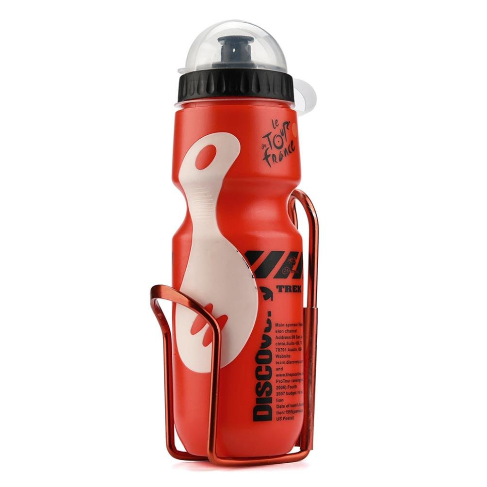 Vanvler 650ML Outdoor Water Bottle + Kettle Holder Cage Rack -Mountain Cycling Bike Bicycle Kit (Red)