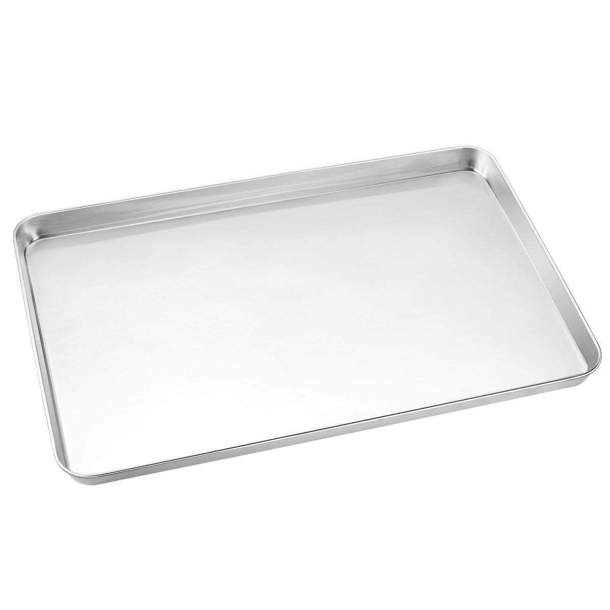 Large Baking Sheets, HKJ Chef Baking Pans & Stainless Steel Cookie Sheets & Toaster Oven Tray Pans, Rectangle Size 24L x 16W x 1H inch & Non Toxic & Healthy,Superior Mirror & Easy Clean by HKJ Chef