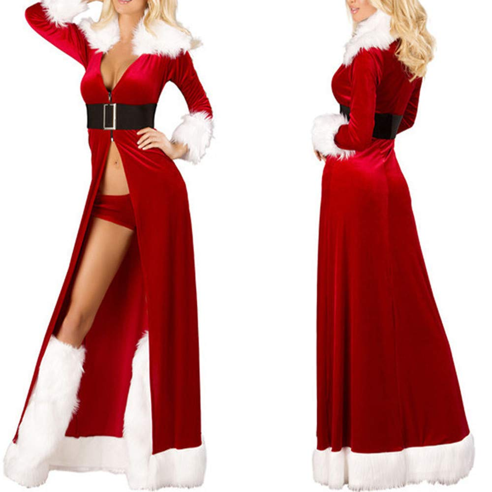 ebc4af67d17 Seaintheson Xmas Santa Claus Costume, Womens Christmas Sexy Long Sleepwear  Fluffy Fur Belt Underwear Nightdress Coat
