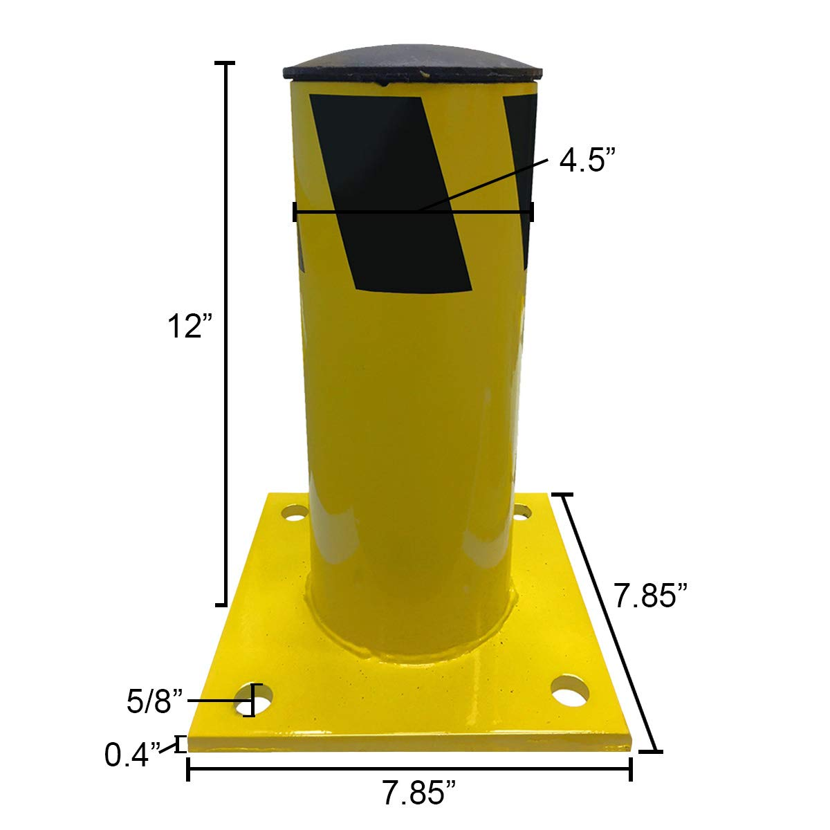Electriduct 1 Foot Steel Pipe Safety Bollard Post Yellow/Black Stripe - Parking Lot Traffic Barrier (12'' Height - 4.5'' OD) - Pack of 4 by Electriduct (Image #3)