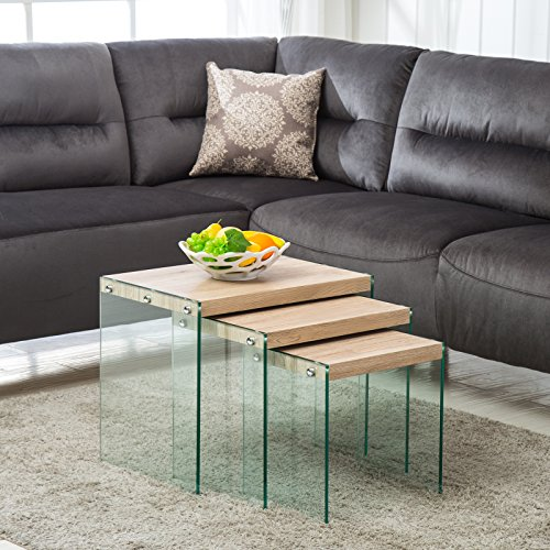 (Mecor Nesting Table Set of 3 Glass Side End Coffee Table Wood Top Living Room Furniture Butternut)