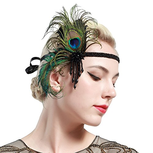 Peacock Flapper Headband (BABEYOND 1920s Flapper Headband Roaring 20s Great Gatsby Headpiece 20s Peacock Headband 1920s Flapper Gatsby Hair Accessories)