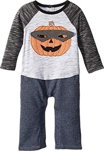 (Mud Pie Baby Boys Halloween Pumpkin Long Sleeve One Piece Playwear Set, Gray, 9-12)