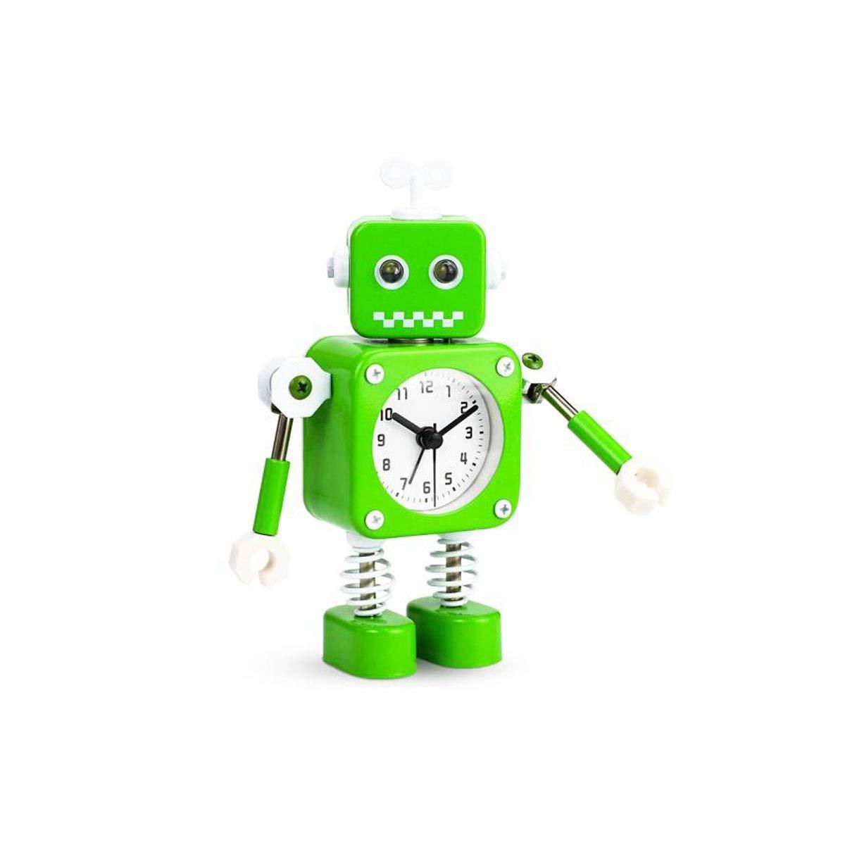 Chenjinxiang01 Reloj Despertador, Reloj electrónico Personalizado, Reloj de Alarma pequeño mecánico de Metal para Estudiantes, Robot Verde, Reloj de cabecera del Dormitorio (11.5 cm × 16.5 cm × 6 cm): Amazon.es: Hogar