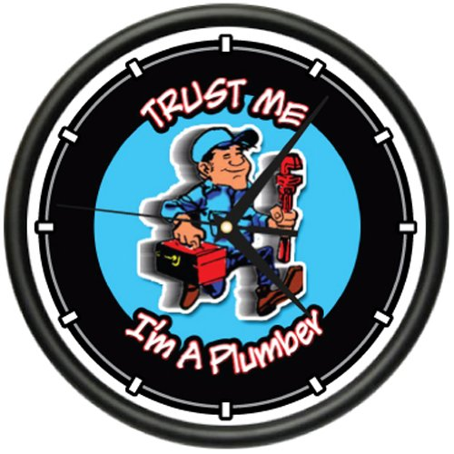 Plumber Wall Clock Plumbing Tools Pipe Faucet Office