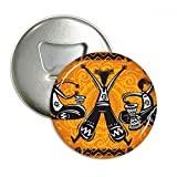 Dance Celebrate Mexico Totems Tambourine Round Bottle Opener Refrigerator Magnet Pins Badge Button Gift 3pcs