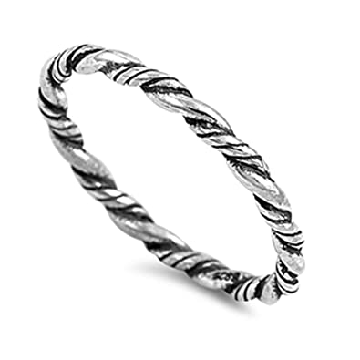 Rope Eternity Braid Bali Thumb Ring New .925 Sterling Silver Band Size 2