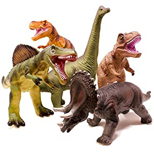 Boley 5 Piece Jumbo Dinosaur Set – Kids, Children, Toddlers Highly Detailed, Realistic Toy Set for Dinosaur Lovers – Perfect for Party Favors, Birthday Gifts, and More