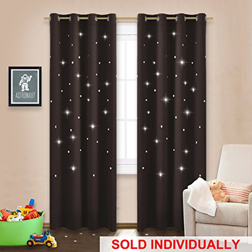 Naptime Essential Nursery Window Drape - NICETOWN 52 by 84 Inch Blackout Curtain with Star Cutouts for Cosmic Themed Bedroom, Perfect for Kids and Space-Loving Grown-ups, Brown, 1 Piece