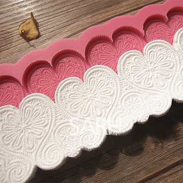 Silicone Cake Mold - Heart Shaped Cake Mold - Heart Shape Silicone Fondant Lace Mold Cake Decorating Mould (Cake Fondant Mold) -
