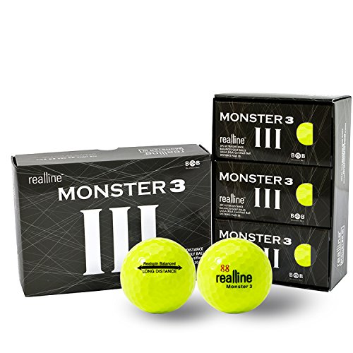 Monster 3 Ultra Maximum Distance Golf Balls for Driver and Accuracy Balance Aligned Golf Ball for Putt Alignment Precision Putting Green Side Control - USGA R&A Rule Conforming - 6 Count (Yellow) - Maximum Distance