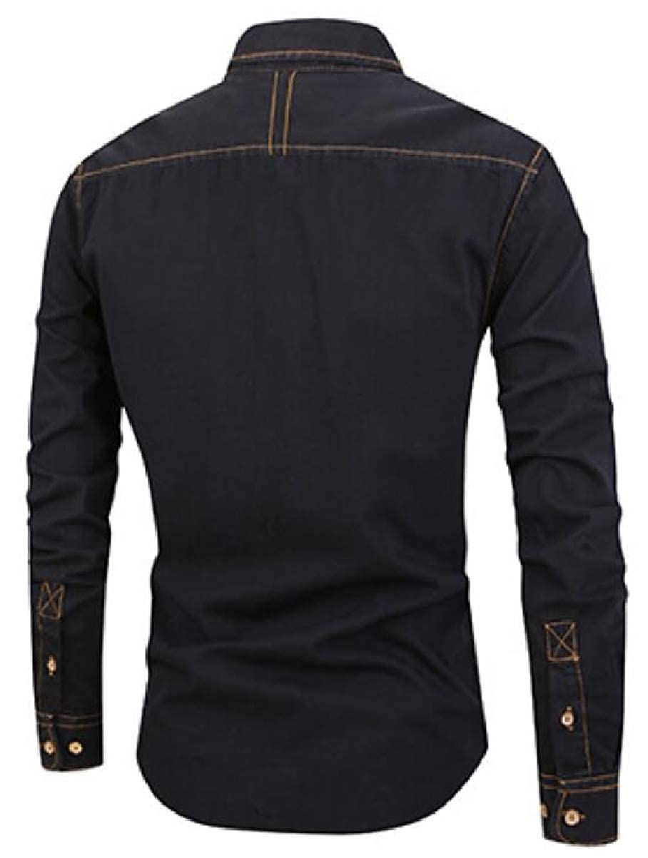 YIhujiuben Mens Faded Regular Fit Denim Button Up Casual Long-Sleeves Blouses