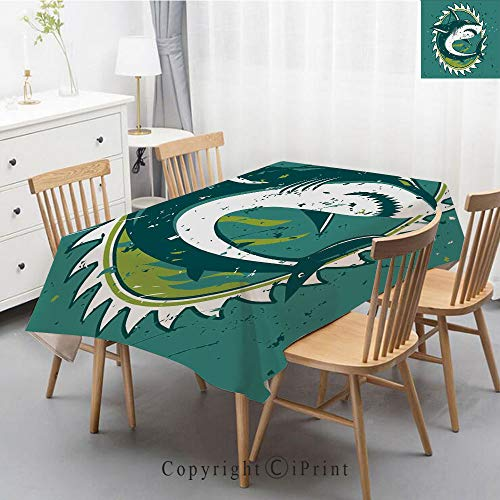 Nautic Marine - Wedding Party,Allover Print Christmas Fabric Tablecloth,Holly Berry Xmas Print Cloth Tablecloth,55x102 Inch,Sea Animal Decor,Graphic of Shark Hunter in Dark Murky Colors Sharp Teeth Fish Marine Nautic