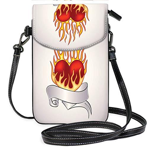 Flaming Heart Tattoo - High-end Fashion Microfiber Crossbody Bag Tattoo of a Flaming Heart Multifunction Travel Crossbody Purse Wallet